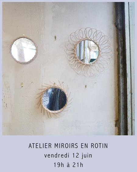 Atelier Miroirs en Rotin