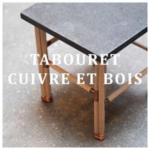 Tabouret Cuivre et Bois